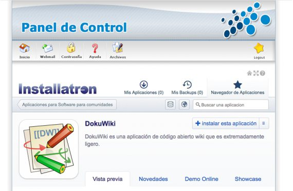 ¿Cómo instalar la aplicación DokuWiki en mi alojamiento?