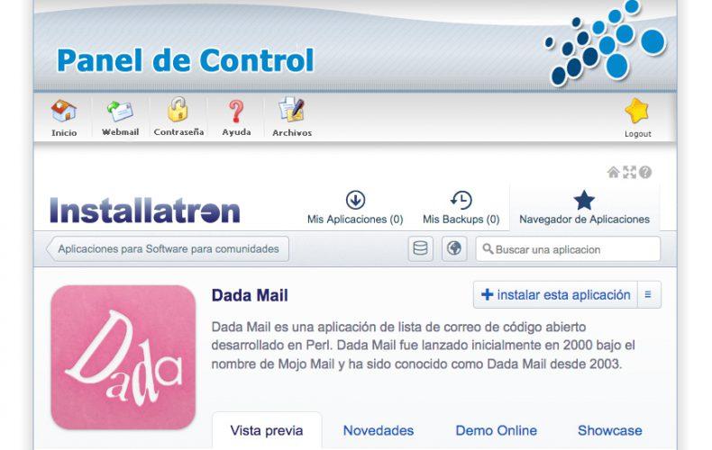 ¿Cómo instalar la aplicación de correo Dada Mail en mi alojamiento?