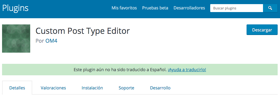 Plugin de WordPress para modificar titulo, descripción y menú de un Custom Post Type (incluyendo entradas y páginas)