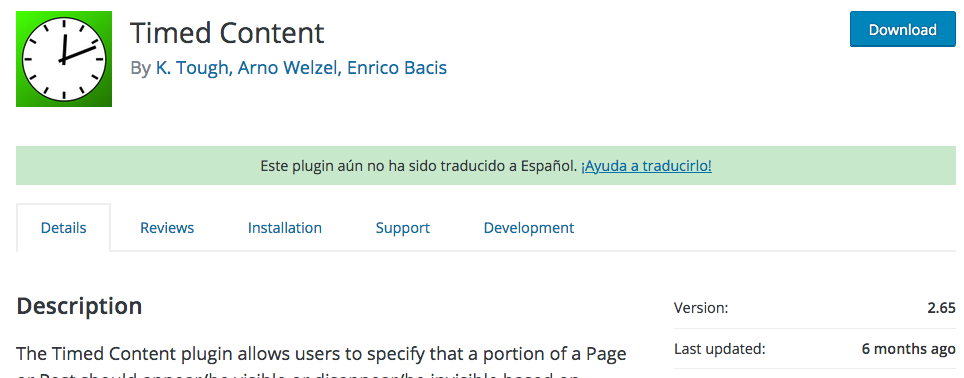 Plugin de WordPress para mostrar contenidos en un determinado momento