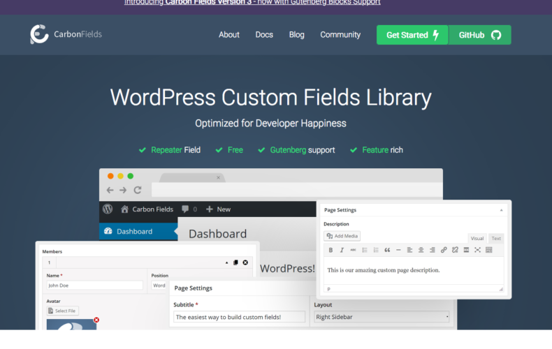 Alternativa gratuita a Advanced Custom Fields Pro de WordPress
