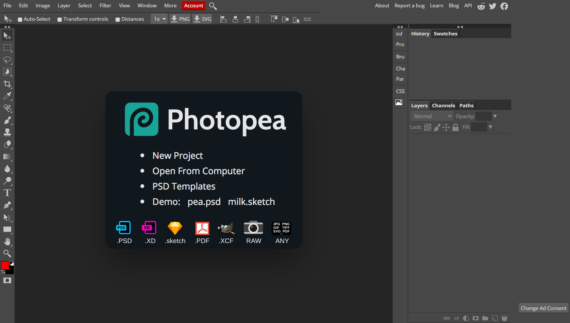 Editor online de archivos PSD, XD, sketch, PDF, XCF, RAW, JPG, PNG, SVG y muchos más